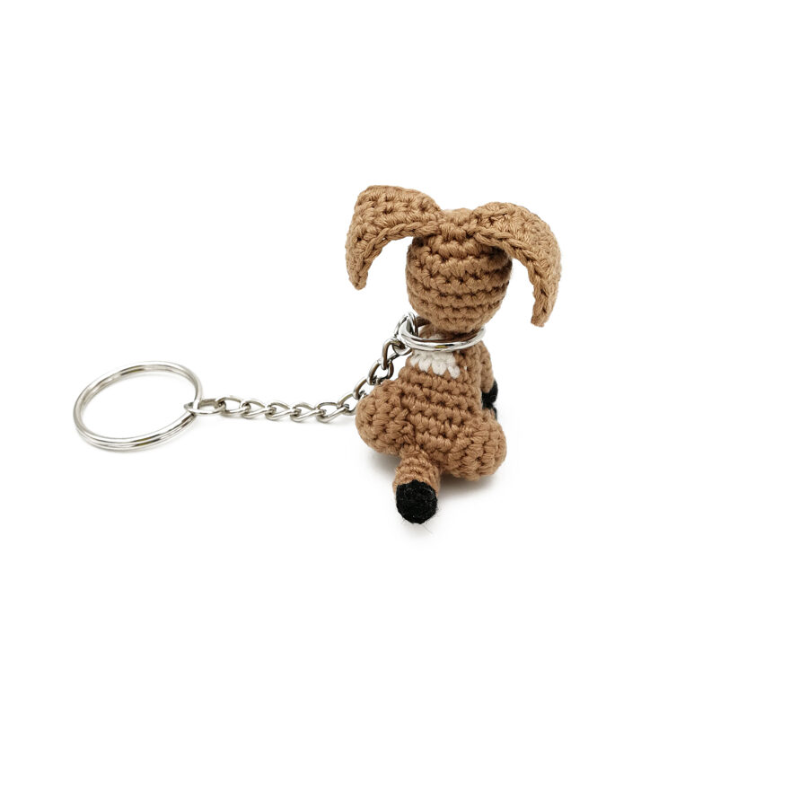 Keychain with mini dog. Key accessory for dog lovers. Pocket puppy toy.