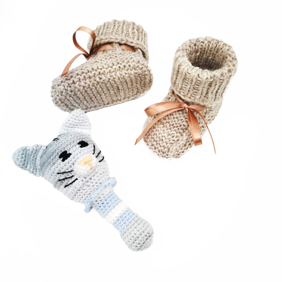 Baby booties and rattle toy set