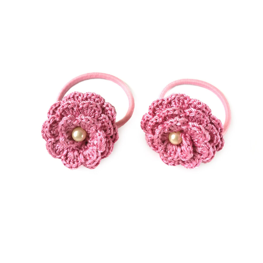 """Hair bands """"Flowers with a bead"""" (rose)"""
