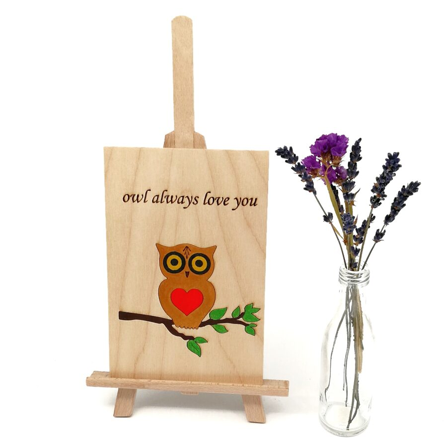 """Wooden greeting card """"owl always love you"""""""