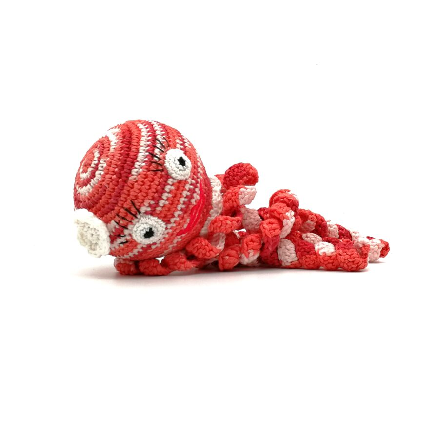 """Soft toy """"Red Octopus with flower"""""""