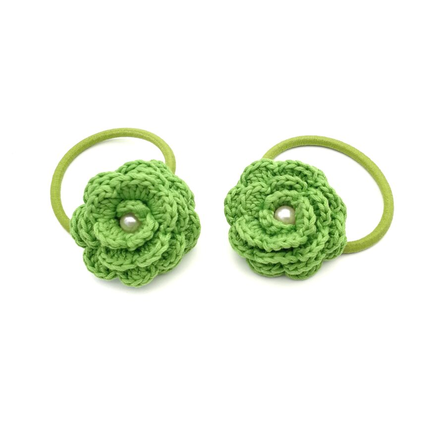 """Hair bands """"Flowers with a bead"""" (green)"""