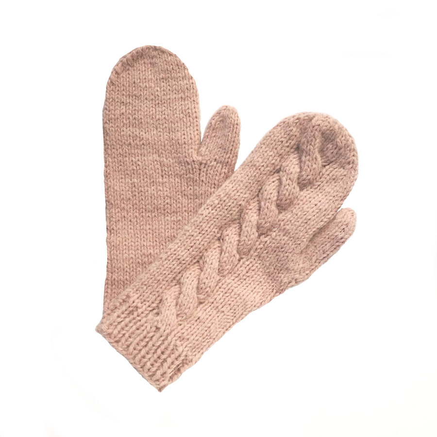 One Color Mittens with braid