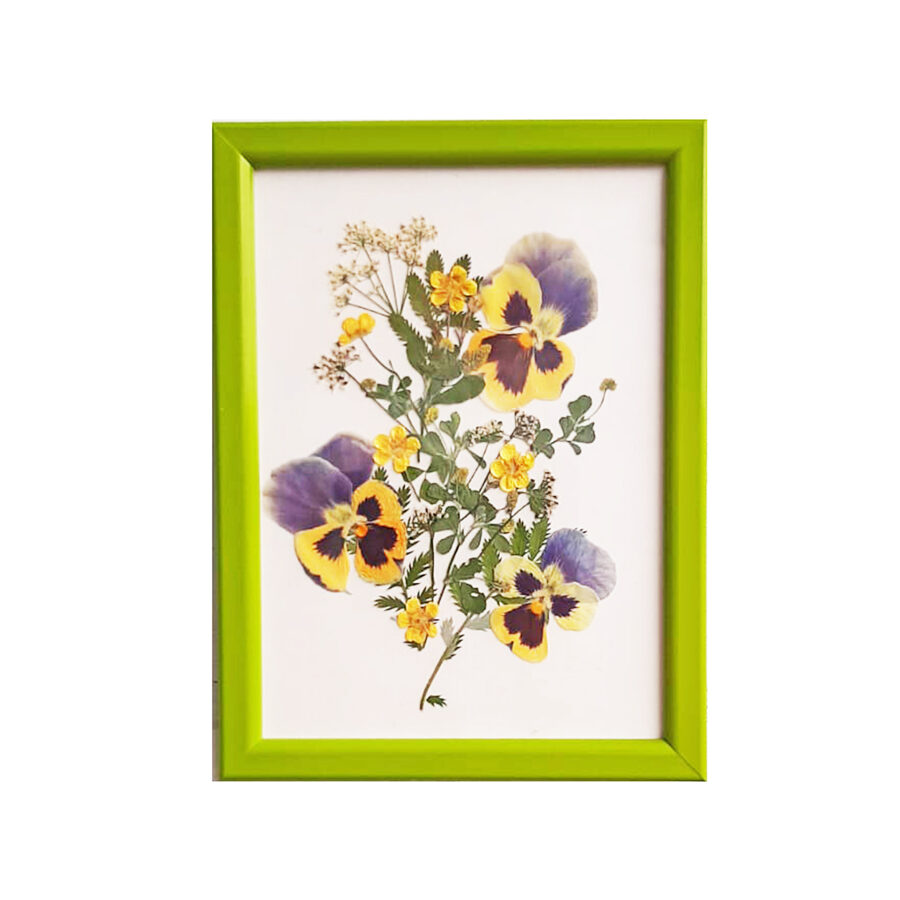 """Photoframe with dried flowers """"Pansies"""""""