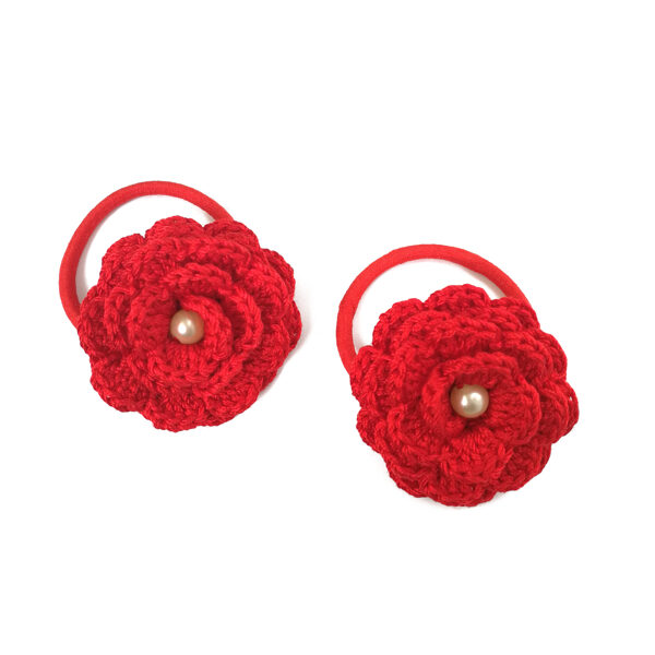 """Hair bands """"Flowers with a bead"""" (red)"""