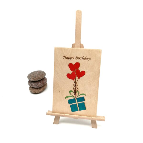 "Wooden greeting card ""Happy birthday!"""