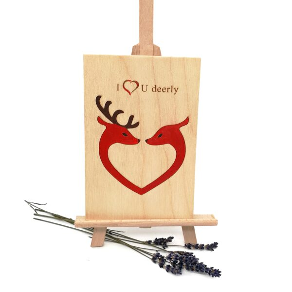 """Wooden greeting card """"I love you deerly"""""""