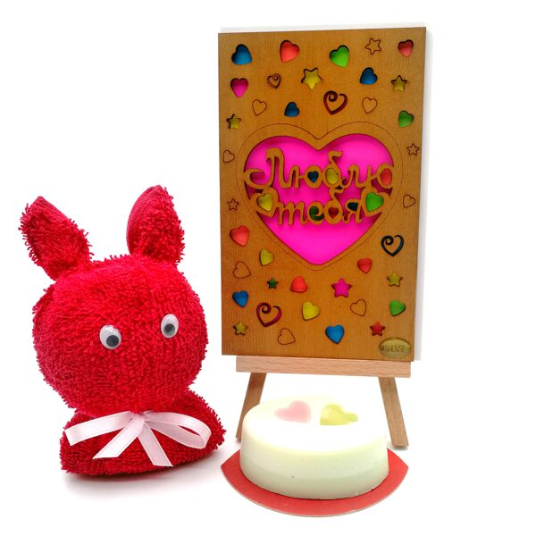 """Gift set """"Я люблю тебя""""  (towel-Bunny with soap and wooden greeting card)"""