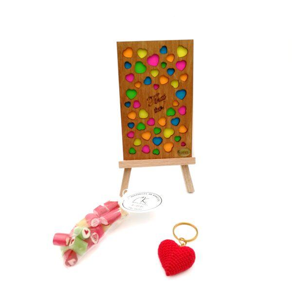 """Подарочный набор """"Tikai tev"""" (брелок, карамель и деревянная открытка)"""