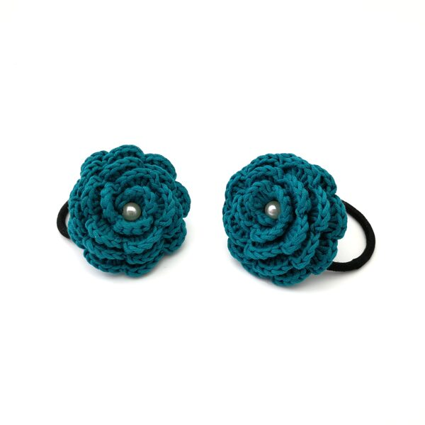 """Hair rubber """"Flowers with a bead"""" (aquamarine)"""