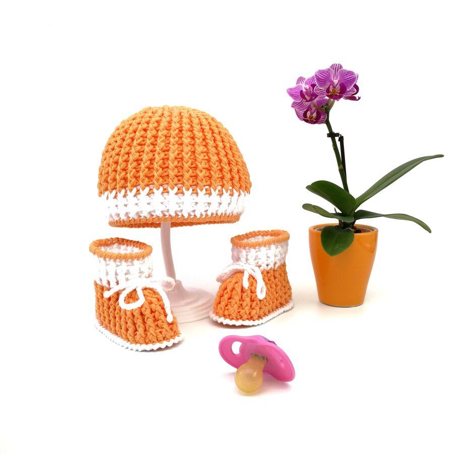 Orange baby set (Hat and booties)
